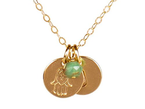 EFYTAL Tiny Gold Filled Hamsa Necklace with Personalized Initial Pendant and Birth Month Charm