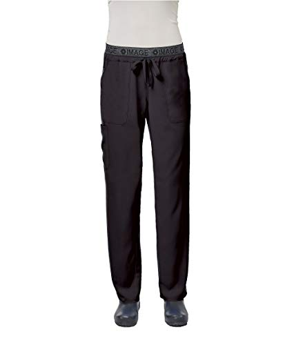 IMAGE by Alexander's Uniforms IM1310 Women's Yoga Style Imprinted Waistband Pant (Black, X-Large Petite) (Lady Image)