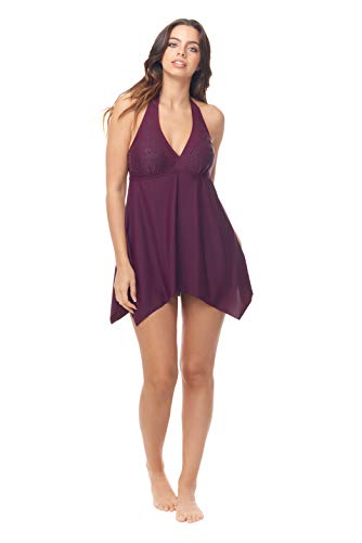 Love My Curves Burgundy Handkerchief Beaded Flowy One Piece Swim Dress (Size 10)