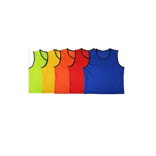 C&W Cricket World Pinnies Blue Polyester Mesh Scrimmage Team Practice Vests Pinnies Jerseys Bibs for Men Senior Sports Basketball, Soccer, Football, Volleyball One Size (Large) (Pack of 6) by C&W