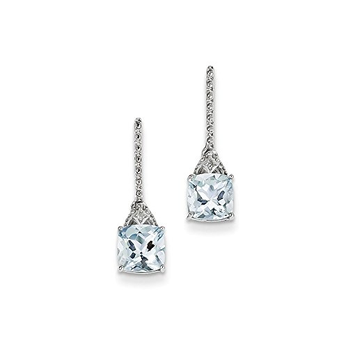 Sterling Silver Rhodium Plated Dia. Aquamarine Post Dangle Earrings by CoutureJewelers