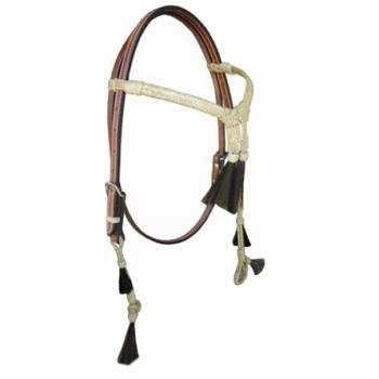 Crossover Headstall with Rawhide and Hair Accents