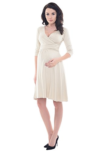 Purpless Maternity Vestido Casual de Embarazo D4400 Beige