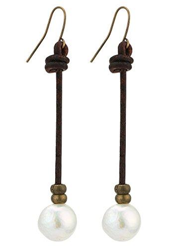Aobei Single White Cultured Freshwater Pearls Drop Dangle Earrings Genuine Leather Hook Earring ()
