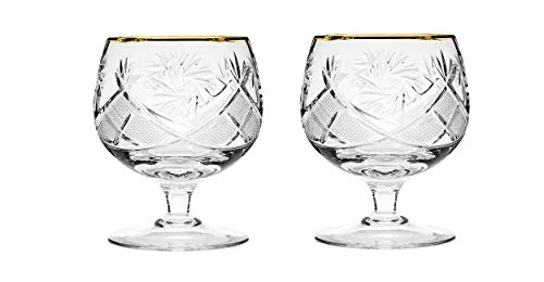 Gold Brandy Glass - Set of 2 Russian Cut Crystal Brandy Snifter Glasses 11-oz, Old Fashioned Vintage Glassware (Brandy Snifter w/gold)