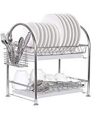 NEX Dish Rack Stainless Steel Two Tier Draining Rack Rustless Storage Rack with Chopstick ()