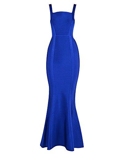 UONBOX Women's Open Back Fishtail Formal Evening Cocktail Long Maxi Bandage Dresses Size M (Blue) (Skirt Long Bandage)