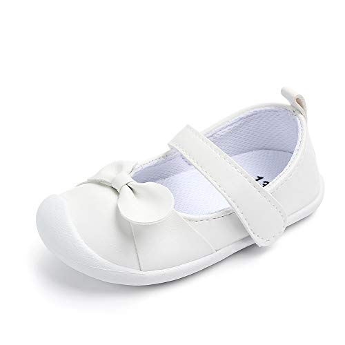 Embroidered Mary Jane - Kuner Baby Girls Pu Leather Embroidered Soft Bottom Non-Slip Princess Shoes First Walkers Shoes (14.5cm(24-28months), White Bow)