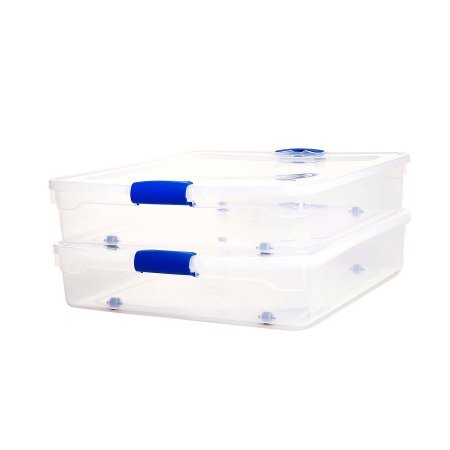 Homz 56 Qt. Plastic Storage Latching Boxes with Wheels, Clear/Blue (Set of 2)