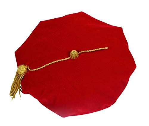 Happy Secret Doctoral Graduation Tam Unisex Red Velvet 8-Sided with Gold Bullion Tassel