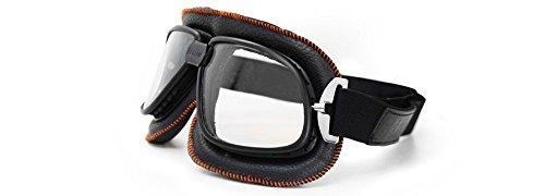 3 opinioni per Occhiali Maschera in pelle per moto- nera con rifiniture arancione- lente