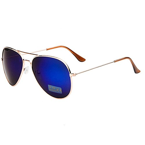 AMAZZANG-New Retro Outdoor Sports Aviator Sunglasses Unisex Eyewear Driving Glasses (GOLD FRAME BLUE - Blue Eyes Steve Mcqueen