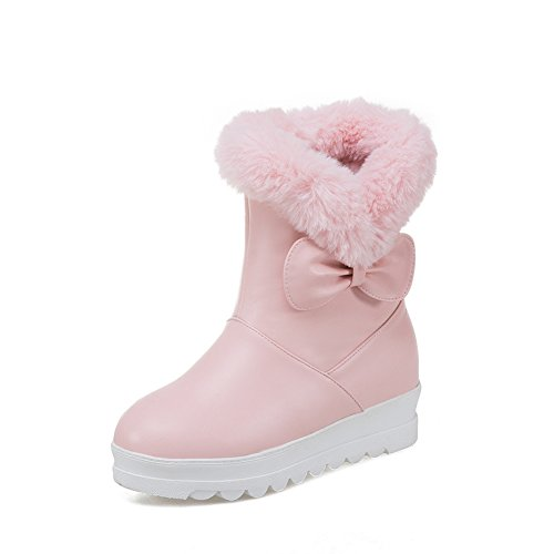 DoraTasia Women's Increased Internal Shoes With Butterfly Knot Casual Snow Ankle Boots Pink sVqYvi