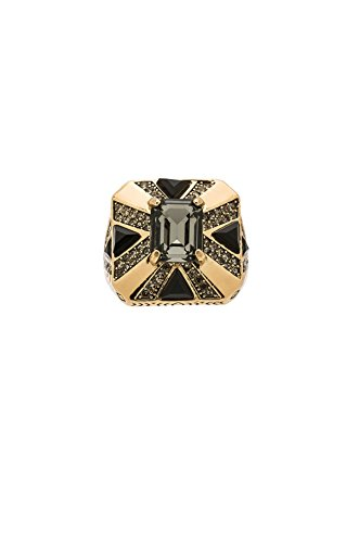House of Harlow Dark Grey Rectangle Crystal with Black Square Goldtone Ring Sz - Harlow Crystal