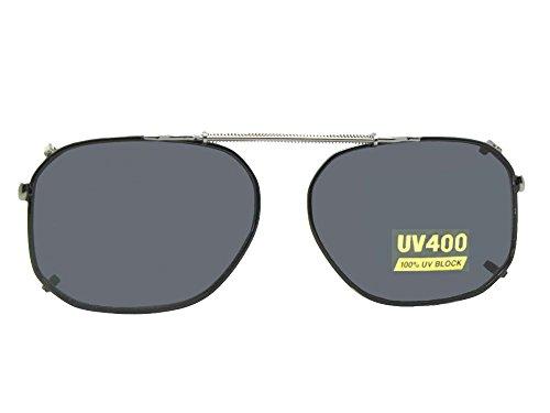 Modified Aviator Non Polarized Clip On Sunglasses (Black-NON Polarized Gray Lens, 52mm Width x 39mm (Rage Gray Sunglasses)