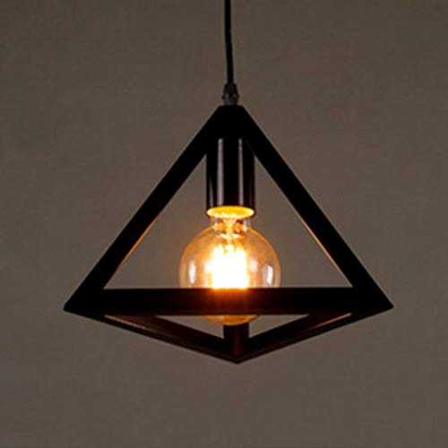 Candtong Industrial Wrought Iron Bedroom Interior Chandelier, Creative Adjustable Height Triangular Hollow LED Chandelier, Hanging Cafe Restaurant Corridor Lights