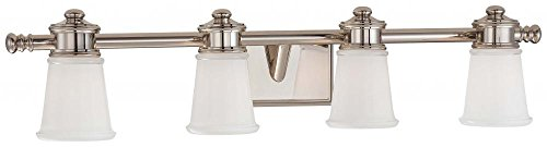 Minka Lavery Wall Light Fixtures 4534-613 Bath Art Glass Bath Vanity Lighting, 4 Light, Polished Nickel (Art Glass Bath Vanity)