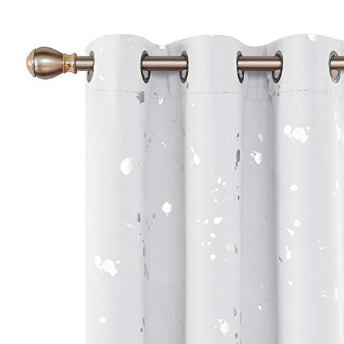 - Deconovo Silver Dots Printed Thermal Insulated Window Blackout Curtains Energy Saving Grommet Light Blocking Drapes for Living Room 38W x 45L Greyish White 2 Panels