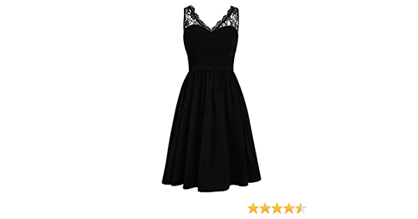 Cdress Chiffon Short Bridesmaid Dresses Lace Cocktail Gowns V-Neck Homecoming Dress at Amazon Womens Clothing store: