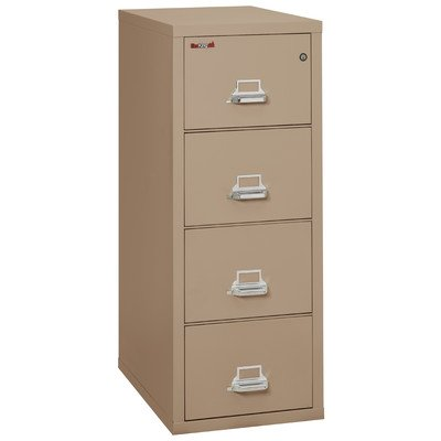 Fireproof 4-Drawer Vertical Letter File Finish: Taupe, Lock: Manipulation-Proof Comb. Lock