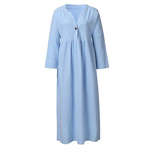Womens Summer Long Sleeve Linen Dress Loose A-line Party Sundress Button Dress