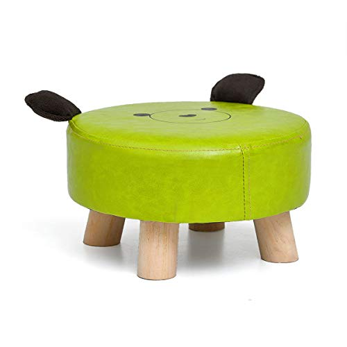 ZHIRONG Cartoon Animals Round Stool Lovely Child Footstool Change Shoe Bench Solid Wood Stool (Color : B) by Barstools