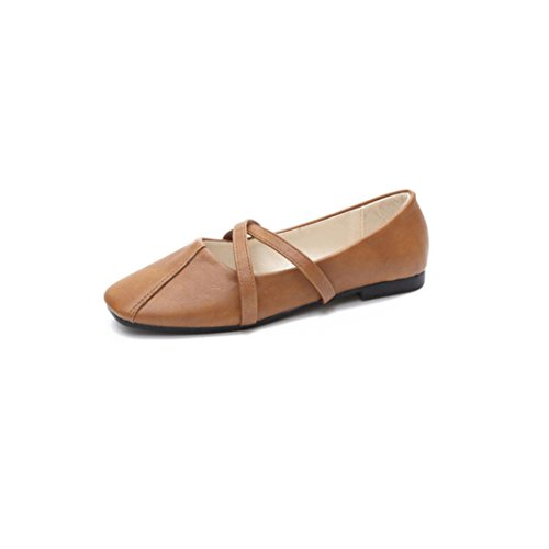 Solid Women Shoes Brown Low Color Square With erthome Cross Head Fashion Strap Retro Flat gFpqOEc