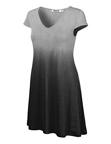 WDR1089 Womens Ombre V Neck Cap Sleeve T Shirt Dress XXL BLACK