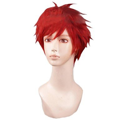 HJLHYL-Mens Layered Red Short Halloween Costume Party Cosplay Wig for Gekkan Shoujo ()