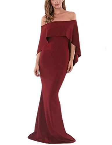 Elegante Maxi Sin Cinturón Prom Lrud Vestidos 3 Mujeres Burgundy Noche Shoulder Off One dxaw0B