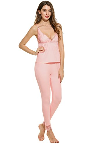 Womens Cami Top Pants (Ekouaer Womens Cotton Sleepwear Lace Trim Cami Top and Long Pant PJ Set(Pink,L))