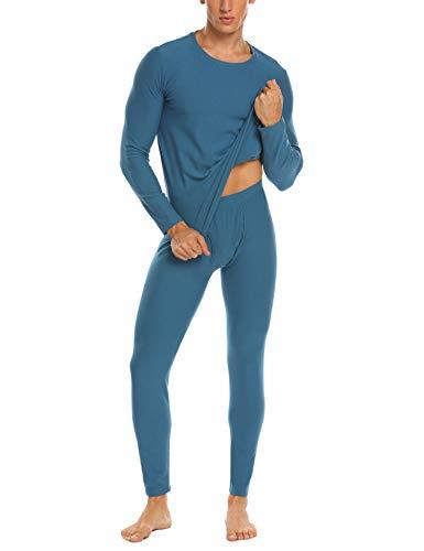 Ekouaer Mens Long Johns Cotton Thermal Underwear Fleece Lined Base Layer Winter Set (Blue, M)