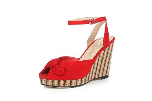 AgooLar Women's Nubuck Leather Solid Buckle Peep Toe High Heels Sandals Red