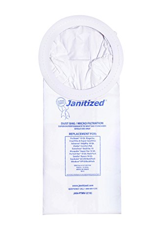 Janitized JAN-PTMV-2(10) Premium Replacement VacBag:ProTeam SuperCoach,Mosquito,Advance Adgility,Sandia Raven 10qt,Sanitaire SC530 OEM#1471097500,62135,100331,10-0006(10 (Apc Backpack)