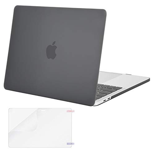 MOSISO MacBook Pro 13 Case 2018 2017 2016 Release A1989/A1706/A1708, Plastic Hard Shell Cover with Screen Protector Compatible Newest MacBook Pro 13 Inch with/Without Touch Bar, Gray