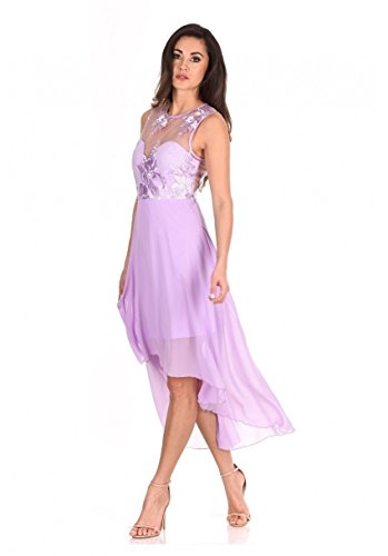 AX Paris Women's Embroidered Mesh Dipped Hem Dress(Lilac, (Lilac Party Dress)