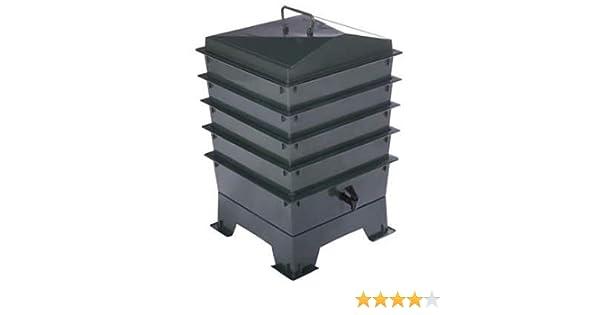 compostera y contenedor de compost org/ánico 4 bandejas Cajones de lombricultura est/ándar con lombrices rojas