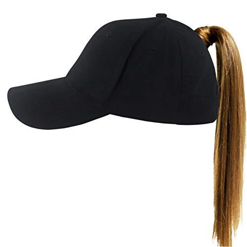 Muryobao Womens Ponytail Baseball Cap Messy High Bun Ponycap Adjustable Snapback Summer Sun Hat Plain Trucker Dad Hat Cotton Black