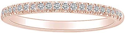 0.14 Carat Round Shape White Natural Diamond Anniversary Band Ring 18k Solid Gold