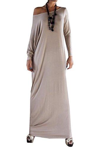 Coolred-femmes Une Ample Solide Robe À La Mode Maxi À Manches Longues Épaule Gris Clair