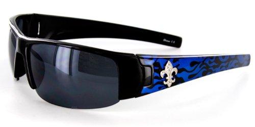 Marseilles Designer Sunglasses with Flame Pattern and Fleur de Lis Emblem for Youthful, Stylish Women (Blue w/ - Fleur Sunglasses