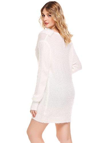 ... Damen Pullover Lang Winter Strickkleid Langarm Pulloverkleid Stretch  Winterkleider Oberteile Weiß KR6Pu ... f2dd0a63e1