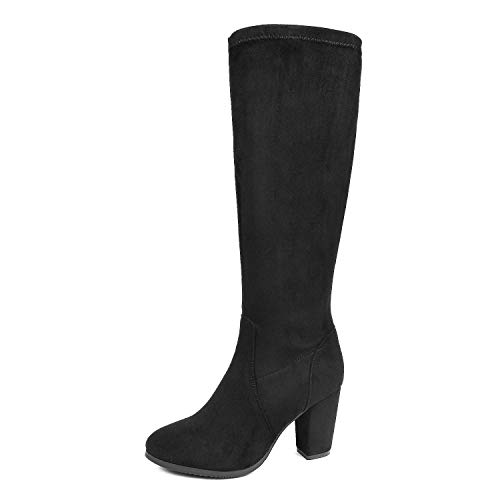 - DREAM PAIRS Women's Midleg Black Chunky Heel Knee High Boots Size 11 M US