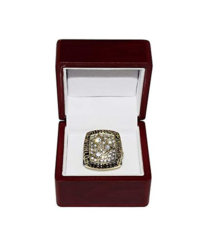 PITTSBURGH STEELERS (Terry Bradshaw) 1978 SUPER BOWL XIII WORLD CHAMPIONS Vintage Rare Collectible High-Quality NFL Football Replica Gold Championship Ring with Cherrywood Display Box