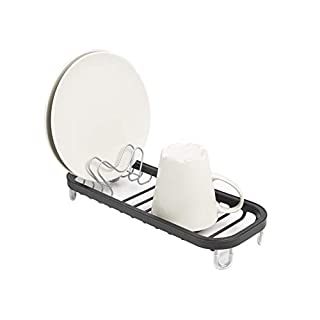 Umbra Sinkin Mini Drying Rack – Dish Drainer Caddy with Removable Cutlery Holder Fits in, Over Sink or on Counter top, Small, Black/Nickel