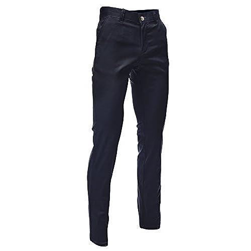 FLATSEVEN Mens Slim Fit Chino Pants Trouser Premium Cotton (CH101) Navy, Size M