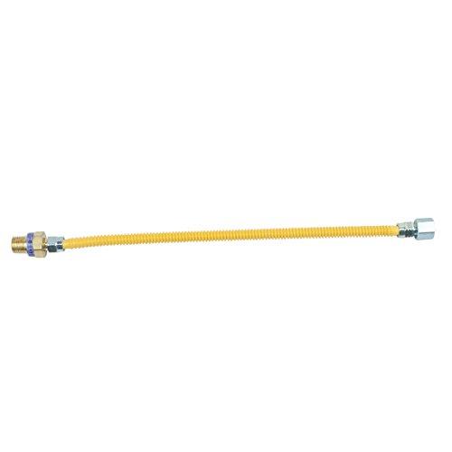 BrassCraft CSSL45R-18 P Safety PLUS Gas Appliance Connector with 3/8'' OD EFV and 1/2'' MIP x 1/2'' FIP x 18'' by BrassCraft