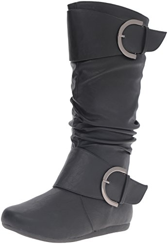 Top Moda Women's Round Toe Slouchy Boot with Buckle, Black, 6
