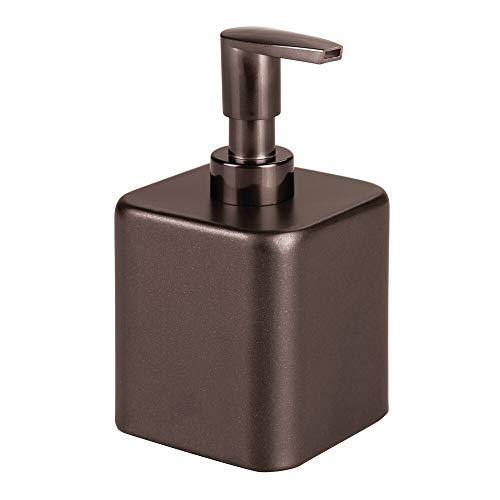 mDesign Compact Square Metal Refillable Liquid Soap Dispenser Pump Bottle for Bathroom Vanity Countertop, Kitchen Sink - Holds Hand Soap, Dish Soap, Hand Sanitizer, Essential Oil - Bronze