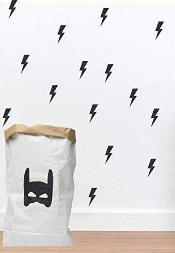 Black Lightning Bolt Superhero Wall Decals for Boys Bedroom, 24 elements